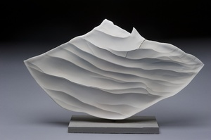 Cutting Edge-view 2 | 2011 | 14h x 22w x 5d in. | porcelain, slate