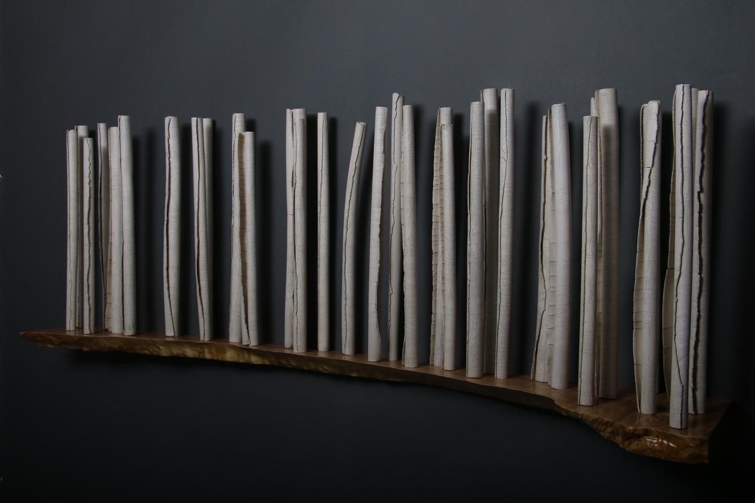 Sanctuary- porcelain, quilted maple shelf